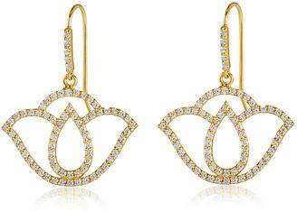 Amrapali Thamarai Lotus 18K Yellow Gold And Diamond Drop Earrings