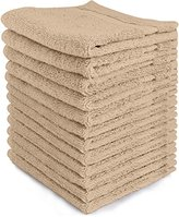 Ringspun Luxury Cotton Washcloths (12-Pack, Champagne, 12 x 12 inches) - Easy Care, Cotton for Maximum Softness and Absorbency - by Utopia Towels