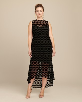 Christian Siriano Zig Zag Velvet Dress