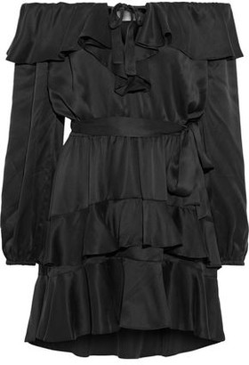 Zimmermann Off-the-shoulder Tiered Ruffled Silk-satin Mini Dress