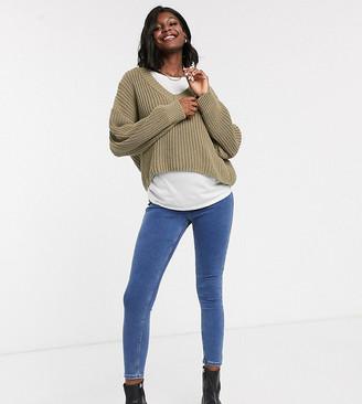 Topshop Maternity Joni overbump skinny jeans in mid wash