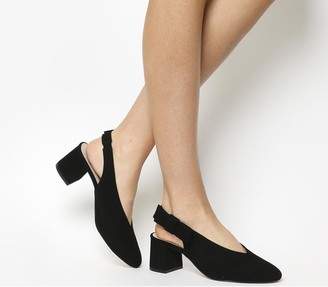 Office Magical Bow Slingback Heels Black Suede