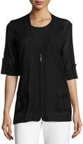Misook Mesh Short-Sleeve Zip Jacket, Black