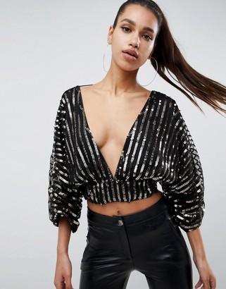 Asos Design DESIGN long sleeve sequin top with kimono sleeves
