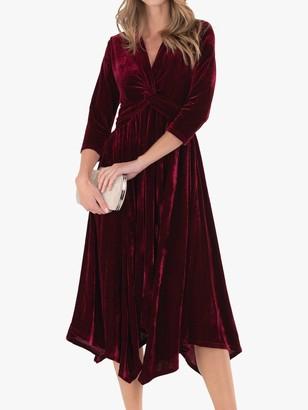 Jolie Moi Hanky Hem Velvet Midi Dress, Burgundy