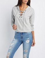 Charlotte Russe French Terry Lace-Up Hoodie