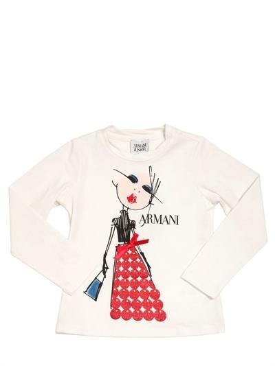 Armani Junior Cotton Jersey Glitter Print T-Shirt