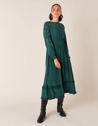 Monsoon Star Heat-Seal Gem Midi Dress Green