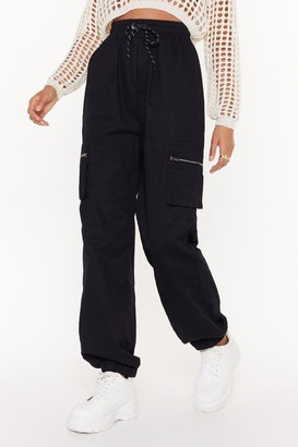 Nasty Gal Womens High Waisted and Fitted Cuffs Cargo Pants - Black