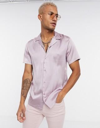 ASOS DESIGN regular fit satin shirt with revere collar in lilac