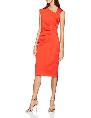 Karen Millen Women's Asymmetric Tuck Pencil Dress Pencil Plain Asymmetric Short Sleeve Party Dress,(Manufacturer Size:UK )