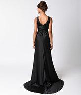 Unique Vintage Preorder 1930s Black Satin Ellington Deco Bias Cut Gown