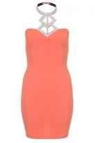 Quiz Coral Diamante Halterneck Bodycon Dress