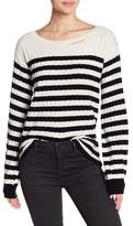 Pam & Gela Destroyed Striped Rib Wool Blend Sweater