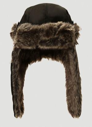 Yohji Yamamoto Faux Fur Trimmed Hat