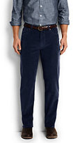 Lands' End Men's Traditional Fit 14-wale Corduroy Pants-Dark Gray Plaid