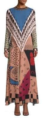 Etro Fringe Trim Multi-Print Maxi Dress