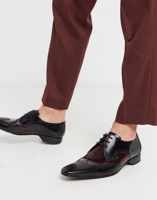 Jeffery West Escobar shoe in BURGUNDY & black leather