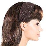 Dahlia Simple Sparkling Rhinestone Stretch Headband - Brown (1 Pc)