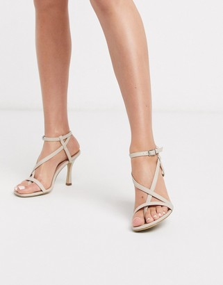 New Look strappy heeled sandals in beige
