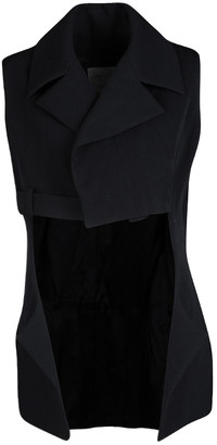 Yohji Yamamoto Black Draped Wool Vest M