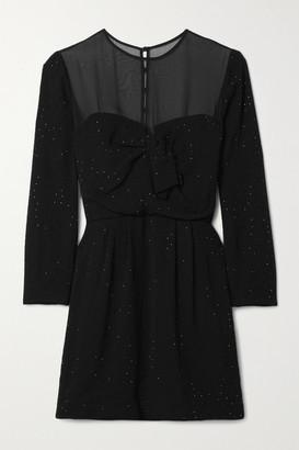 Saint Laurent Chiffon-trimmed Crystal-embellished Crepe Mini Dress - Black