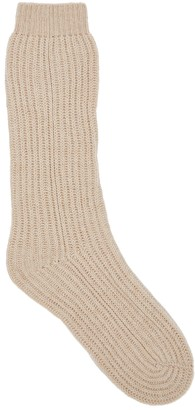 Johnstons of Elgin Sand Ribbed-knit Cashmere Socks