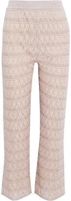 M Missoni Metallic Crochet-knit Bootcut Pants