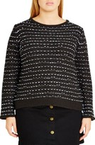 City Chic Plus Size Women's Back Zip Color Pop Sweater