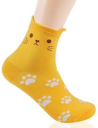 Okie Okie Womens Cat Socks - Crazy Cute Animal Dog Owl Print Crew Novelty Fun Funny Gift (Animal - Cat Foot Print Yellow 1pc)