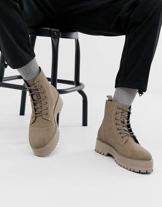 Asos Design DESIGN lace up boot in stone faux suede with raised chunky sole
