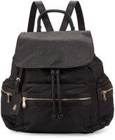 Neiman Marcus Elizabeth Mixed-Media Nylon Backpack, Black