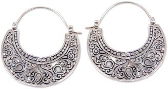 Novica Artisan Crafted Sterling Hoop Earrings