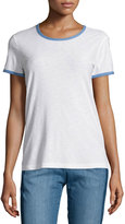 James Perse Ringer Contrast-Trim Tee, White/Heaven Pigment