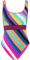 Diane von Furstenberg Belted Striped Swimsuit - Purple