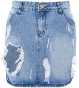 Glamorous Petites **Shredded Denim Mini Skirt by Glamorous Petite