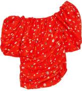 Preen by Thornton Bregazzi Maja One-shoulder Printed Silk-jacquard Top - Tomato red