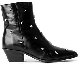 Zadig & Voltaire Women's Tyler Pointed Toe Star Studded Vintage Look Patent Leather Ankle Boots