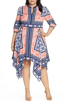 Eliza J Bandana Print Handkerchief Hem Dress