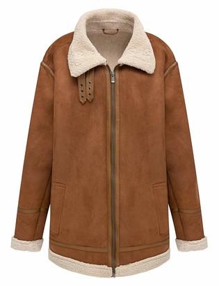 Bellivera Men's Faux Fur Coat Thicken Warm Outwear Winter Jacket Yellow XX-Large