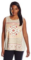 Lucky Brand Women's Plus-Size Sleeveless Top with Embroidery
