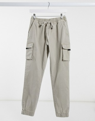 ASOS DESIGN cargo pants with embroidery in washed ecru