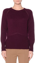 Agnona Crewneck Open-Stitch Cashmere Sweater, Purple