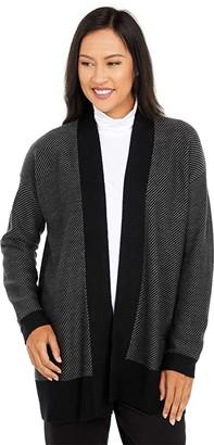 Eileen Fisher Shawl Collar Cardigan (Black/Ash) Women's Clothing