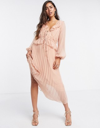 ASOS DESIGN soft pleated midi dress with drawstring waist and frills in blush