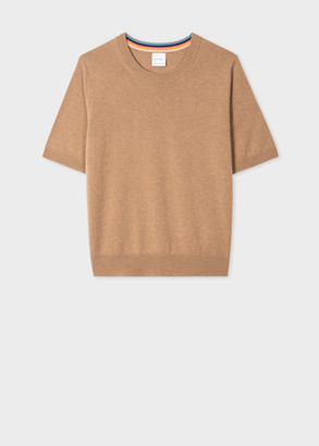 Paul Smith Women's Tan Short-Sleeve Cashmere Sweater
