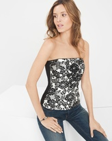 White House Black Market Floral Embroidered Bustier