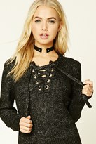 Forever 21 FOREVER 21+ Marled Knit Lace-Up Sweater