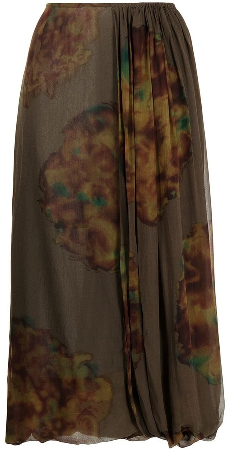 Dries Van Noten Pre-Owned Abstract Print Midi Silk Skirt
