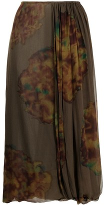 Dries Van Noten Pre-Owned Abstract Print Midi Silk Skirt